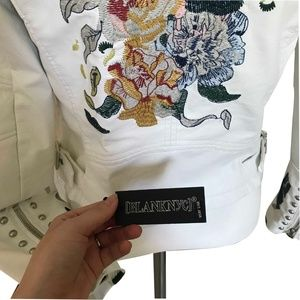 Blank NYC Jackets & Coats - NWT Blank NYC White Floral Leather Jacket